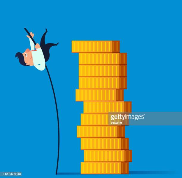 businessman pole vault jumping gold coin stack - pole vault stock illustrations