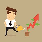 businessman pouring water to grow up rising arrow