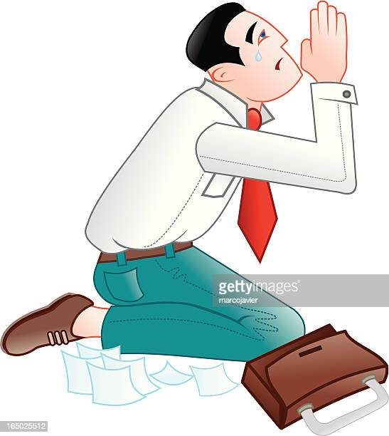 businessman praying for a contract or sale - forgiveness stock illustrations, clip art, cartoons, & icons