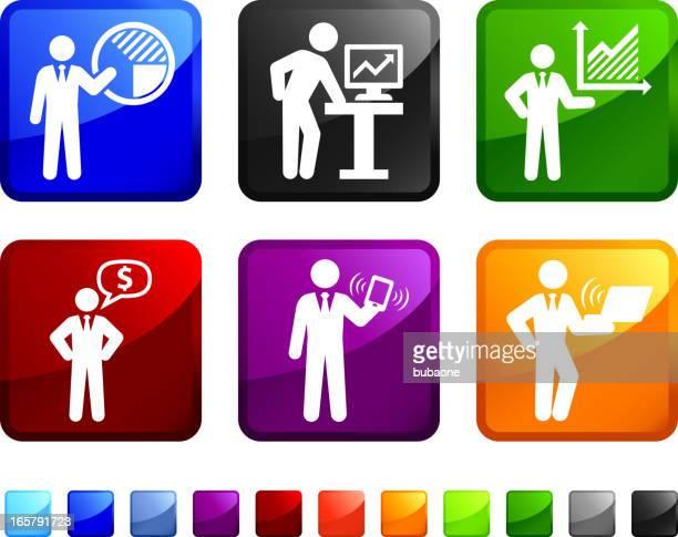 Businessman Presentation royalty free vector icon set stickers