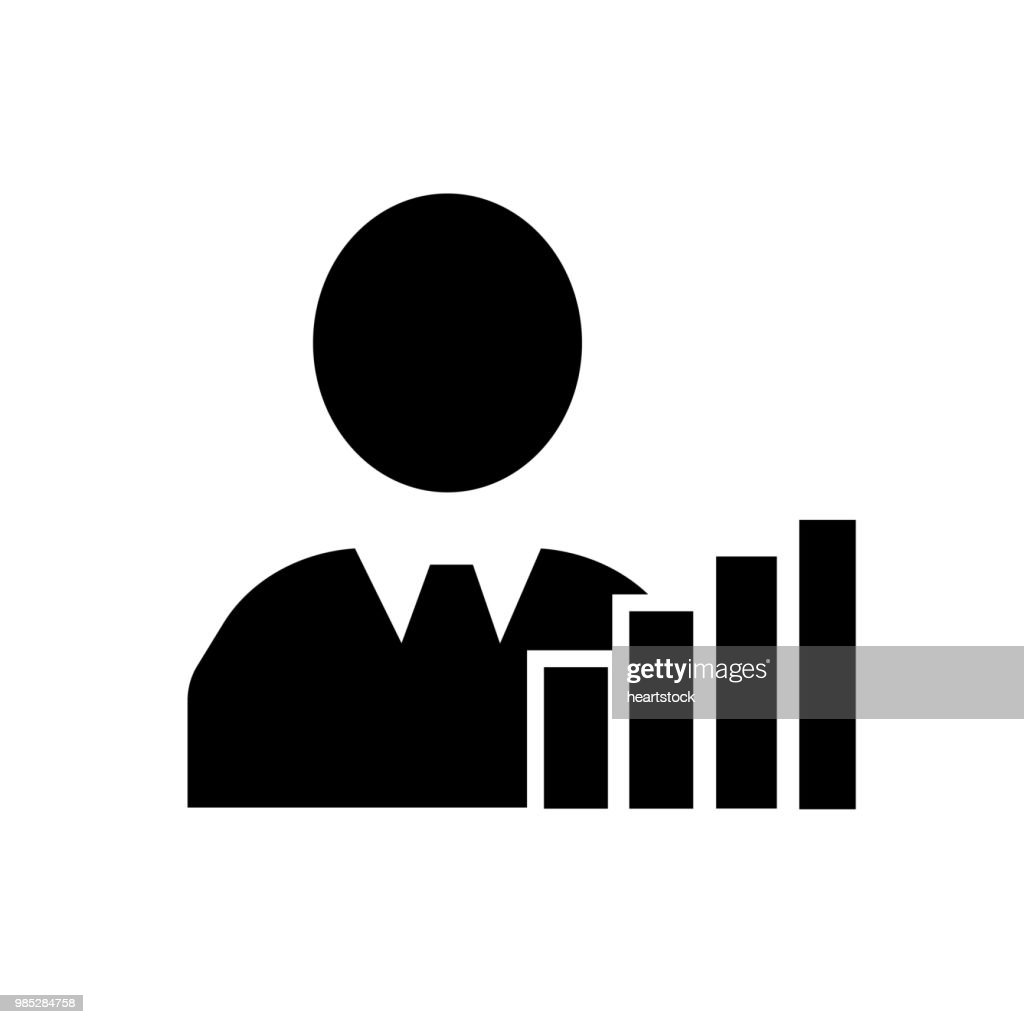 Businessman presenting ascending bars graphic of improving business icon vector icon. Simple element illustration. Businessman presenting ascending bars graphic of improving business symbol design. Can be used for web and mobile.