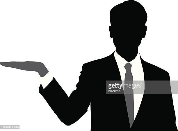 businessman presenting silhouette - headshot stock illustrations