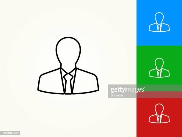 Affärsman profil svart linjär linjeikonen