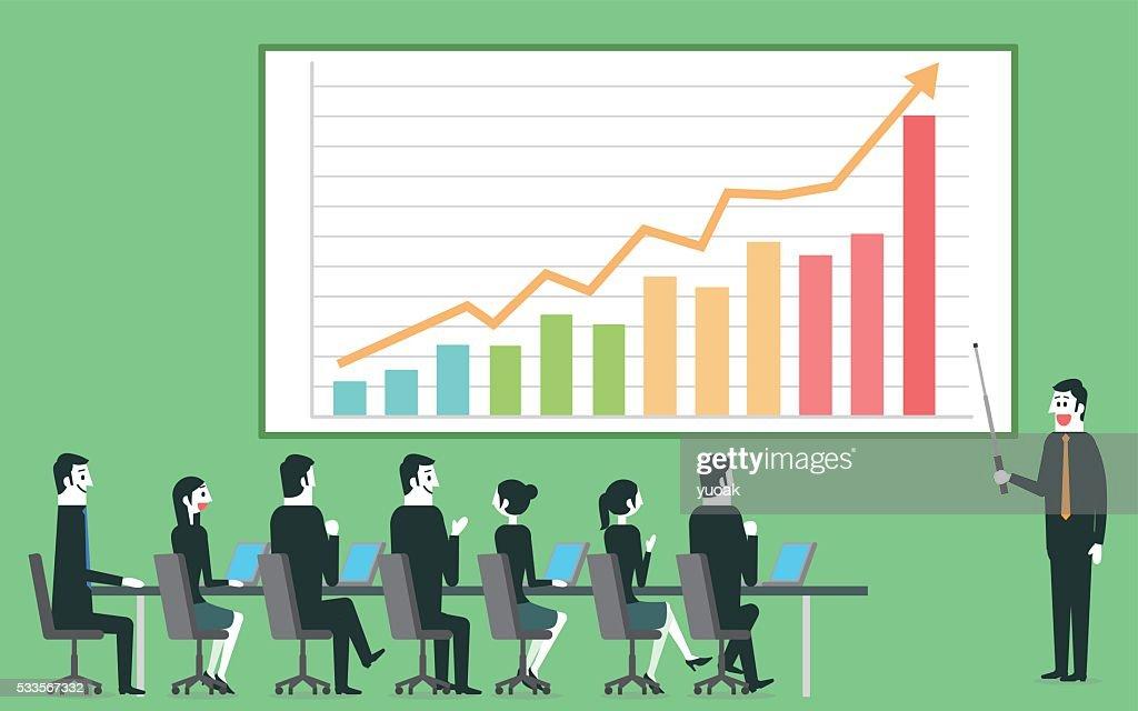 Businessman profit gain presentation