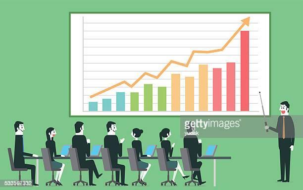 ilustrações, clipart, desenhos animados e ícones de empresário lucro obter apresentação - apresentação discurso