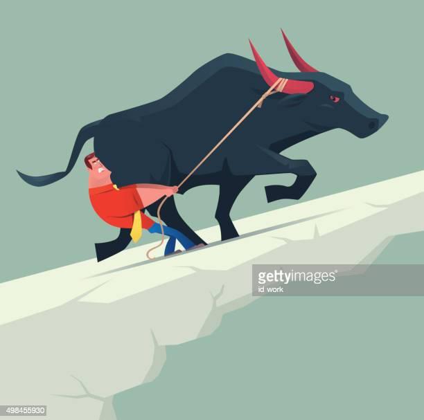 businessman pulling bull - bull market stock illustrations, clip art, cartoons, & icons