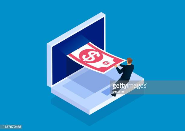 businessman pulls money out of the computer screen - financial technology stock illustrations, clip art, cartoons, & icons