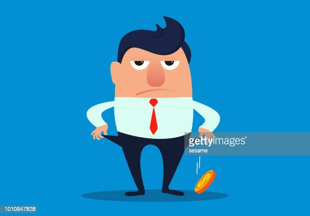 businessman pulls out a coin from the pocket - cash flow stock illustrations, clip art, cartoons, & icons