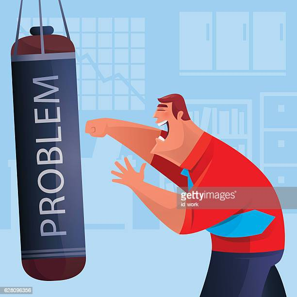 businessman punching bag - office fight stock illustrations, clip art, cartoons, & icons