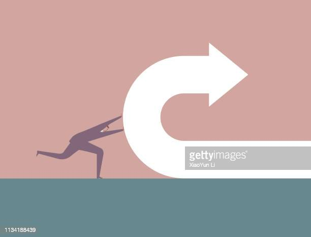 businessman pushes back arrow symbol. - turning stock illustrations