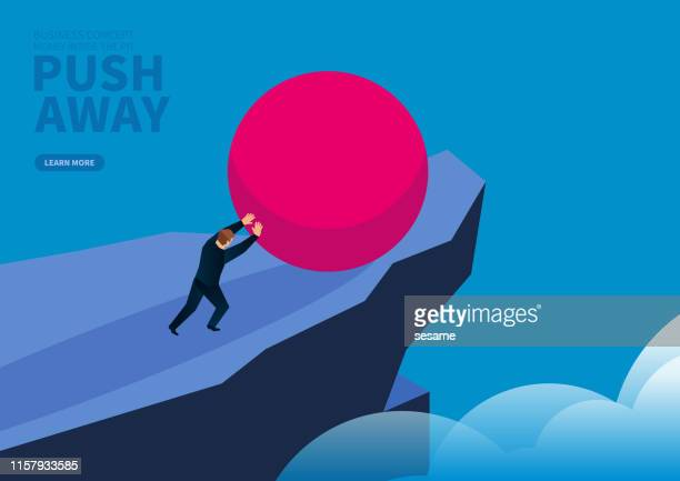 businessman pushes red ball down the cliff - crag stock illustrations, clip art, cartoons, & icons