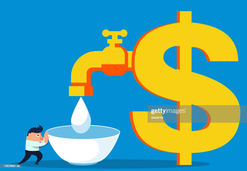 Businessman pushes the bowl to the money faucet to pick up the water : stock illustration