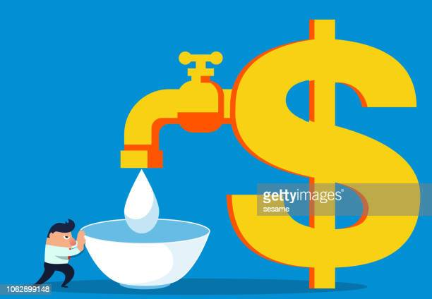 Businessman pushes the bowl to the money faucet to pick up the water