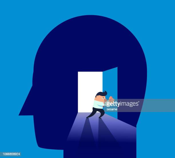 businessman pushes the door of the brain - job interview stock illustrations, clip art, cartoons, & icons