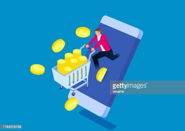 stockillustraties, clipart, cartoons en iconen met zakenman duwen een kar van gouden munten uit het telefoon scherm - geval