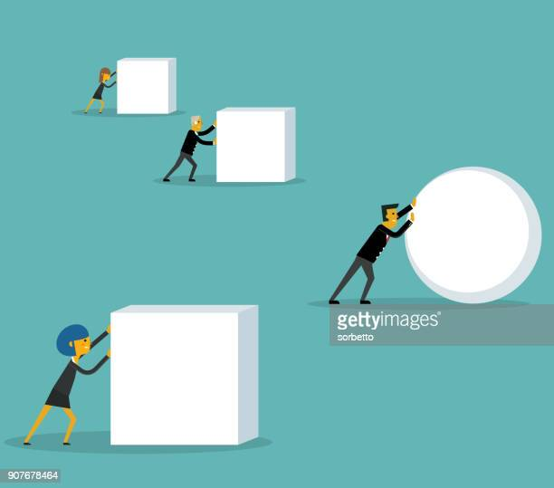 businessman pushing a sphere - drive ball sports stock illustrations, clip art, cartoons, & icons