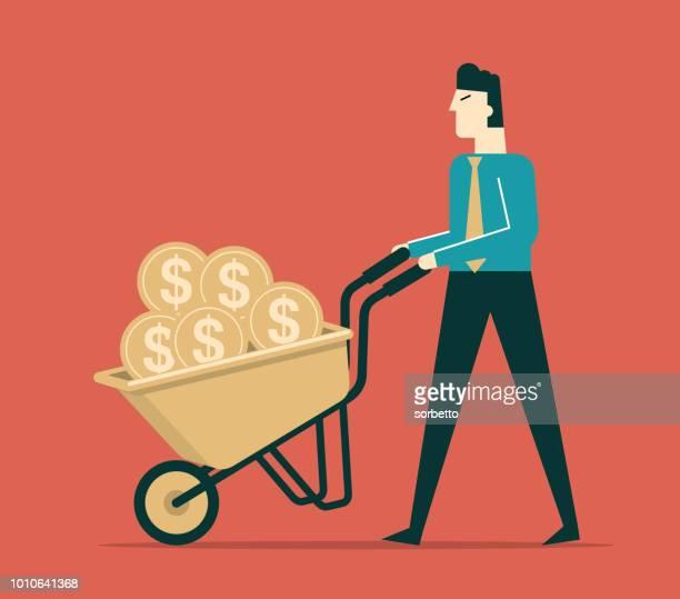 businessman pushing a wheelbarrow - wheelbarrow stock illustrations, clip art, cartoons, & icons