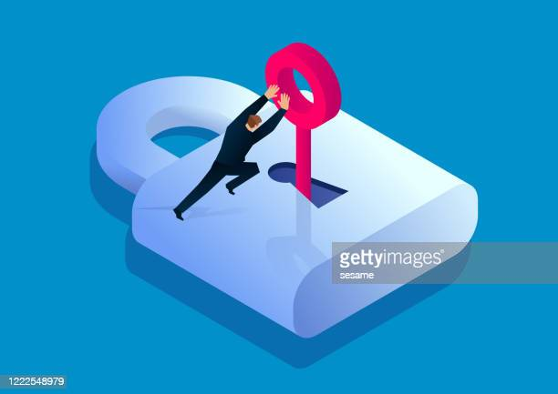 businessman pushing key to unlock, key to success, business solution - entering stock illustrations