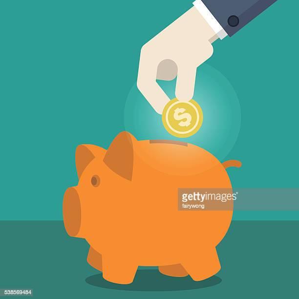 businessman put penny on piggy bank - miserly stock illustrations