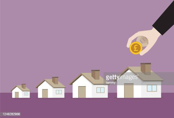 businessman putting a uk pound coin into a big house - commercial real estate sign stock illustrations