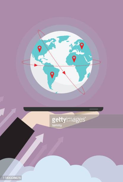 businessman raises a big globe from a mobile phone - global communications stock illustrations