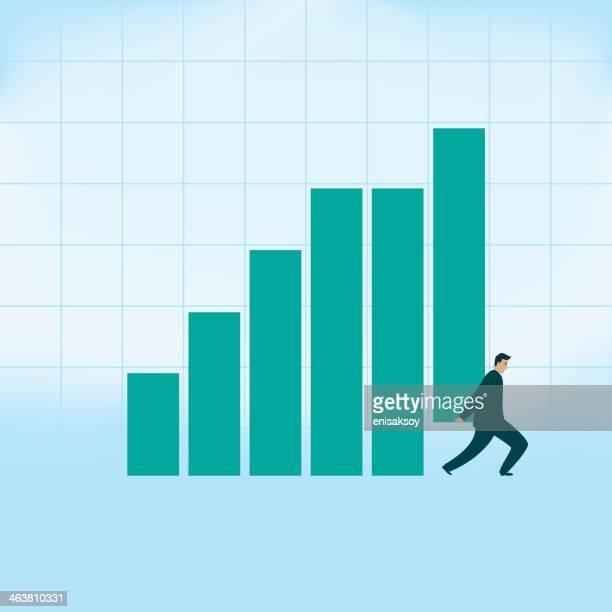 Businessman Raises the Bar Graph