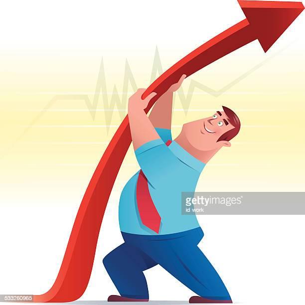 businessman raising arrow