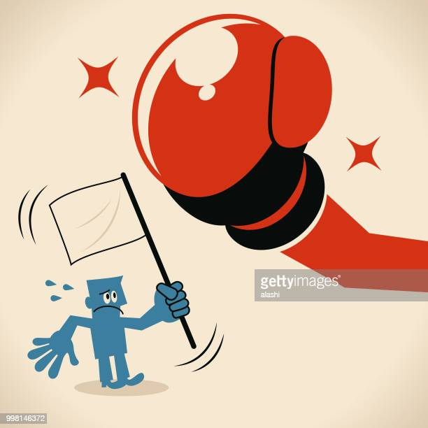 businessman raising the white flag (surrendering), standing in front of big boxing glove (fist) - communication problems stock illustrations, clip art, cartoons, & icons