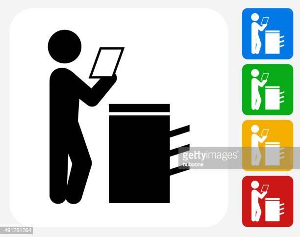 businessman reading icon flat graphic design - photocopier stock illustrations, clip art, cartoons, & icons