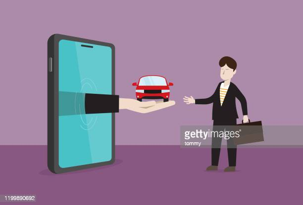 businessman receives a car from a mobile phone - sharing economy stock illustrations