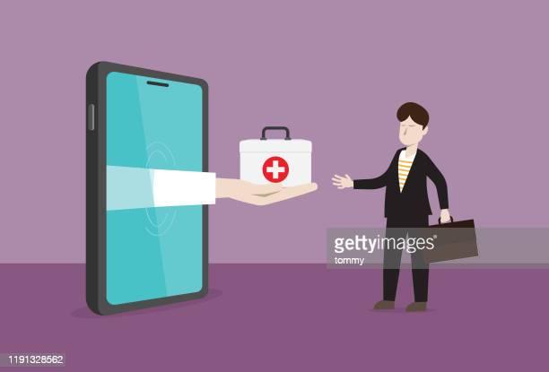 geschäftsmann erhält eine gesundheitsbox von einem mobiltelefon - internet der dinge stock-grafiken, -clipart, -cartoons und -symbole