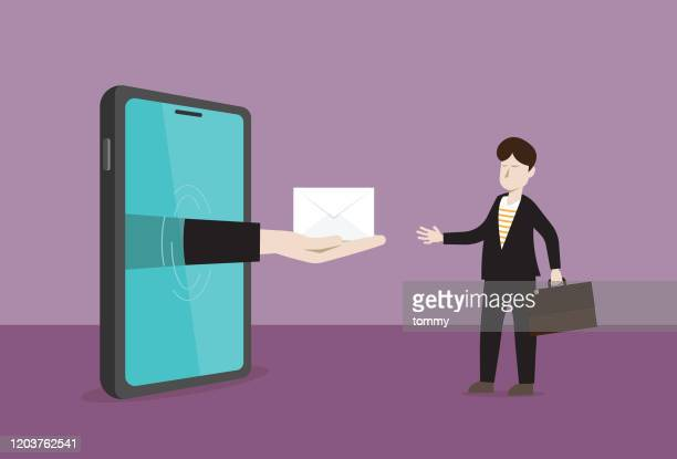 businessman receives an e-mail from a mobile phone - e mail inbox stock illustrations