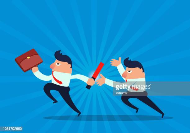 businessman relay game - sportsperson stock illustrations