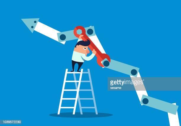 ilustraciones, imágenes clip art, dibujos animados e iconos de stock de flecha reparación empresario - obrero