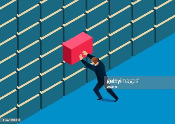businessman repairing broken wall - vulnerability stock illustrations