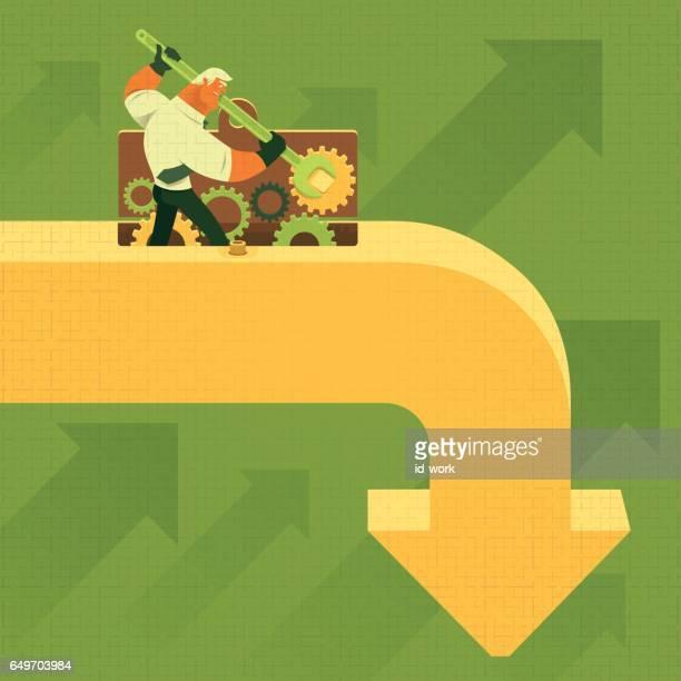 businessman repairing falling arrow