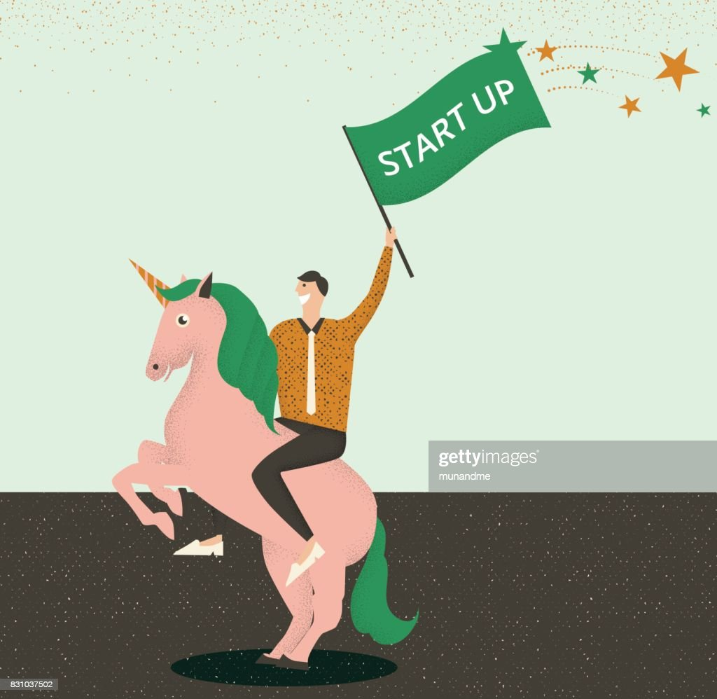 Businessman riding a unicorn with start up flag in his hand