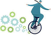 Businessman riding a unicycle with gears