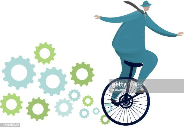 businessman riding a unicycle with gears - unicycle stock illustrations, clip art, cartoons, & icons
