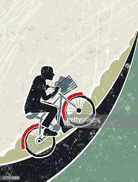 businessman riding bicycle up a steep hill - steep stock illustrations, clip art, cartoons, & icons