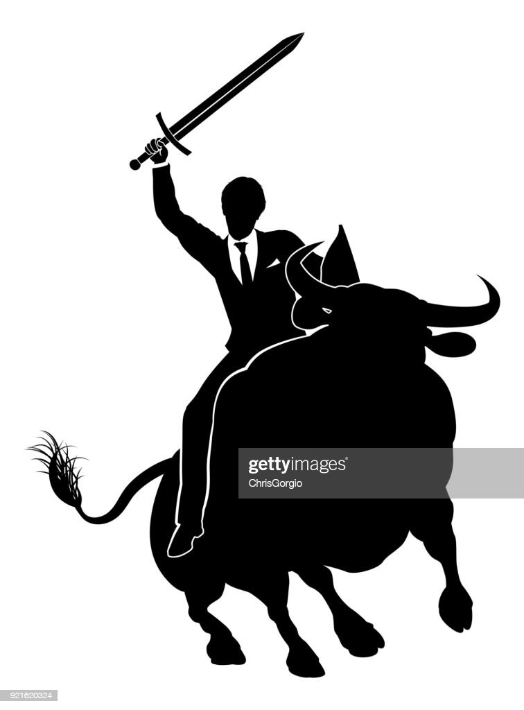 Businessman Riding Bull Concept