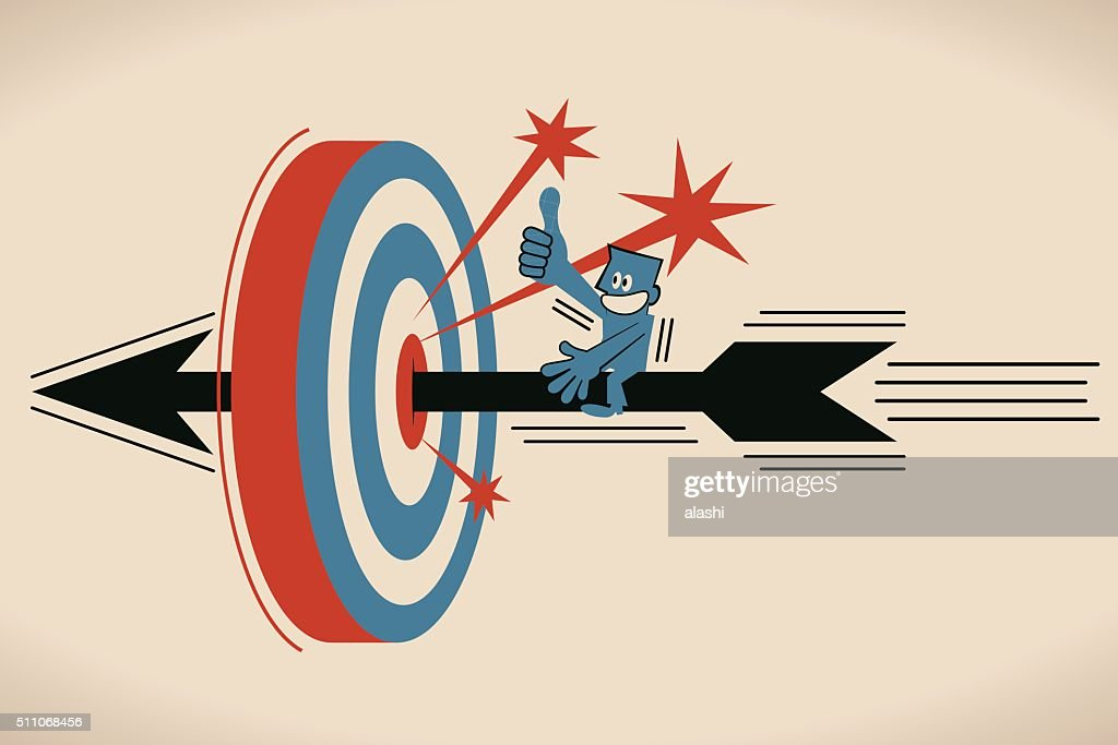 Businessman riding flying archery, shooting on Bull's-Eye of archery target : Vector Art