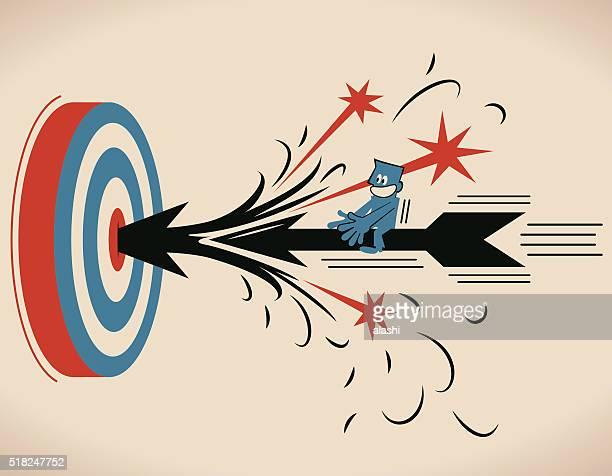 Businessman riding flying archery, shooting on Bull's-Eye of archery target