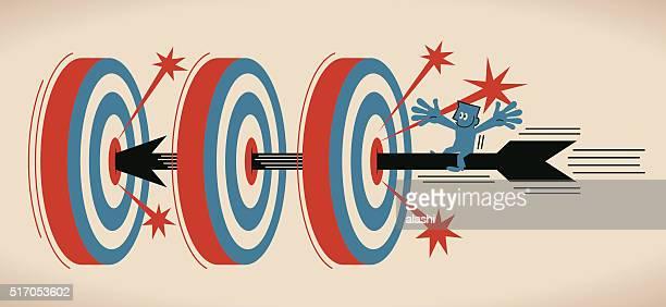 Geschäftsmann auf fliegen Bogenschießen, Schießen auf der Bullauge von drei Ziel