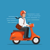 Businessman riding motorcycle or scooter going to work.