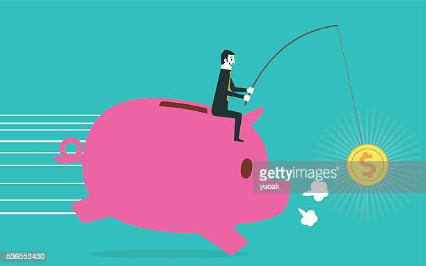 businessman riding piggy bank - finance and economy stock illustrations, clip art, cartoons, & icons