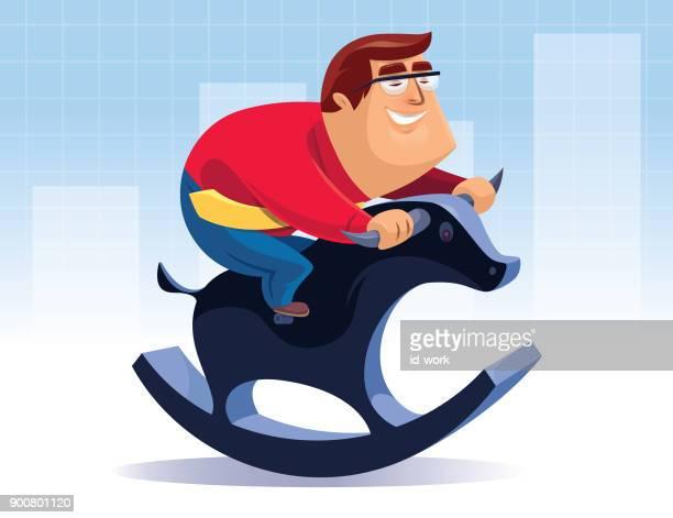 businessman riding rocking bull - bull market stock illustrations, clip art, cartoons, & icons