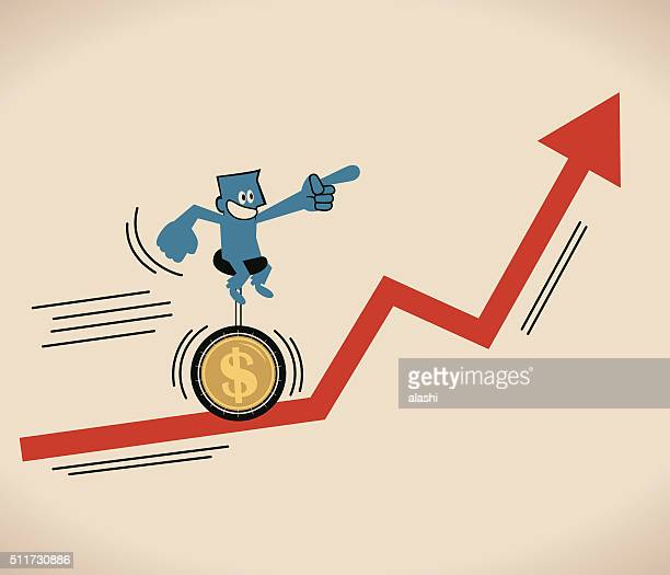 businessman riding unicycle with dollar tire on uprising red arrow - salesman stock illustrations