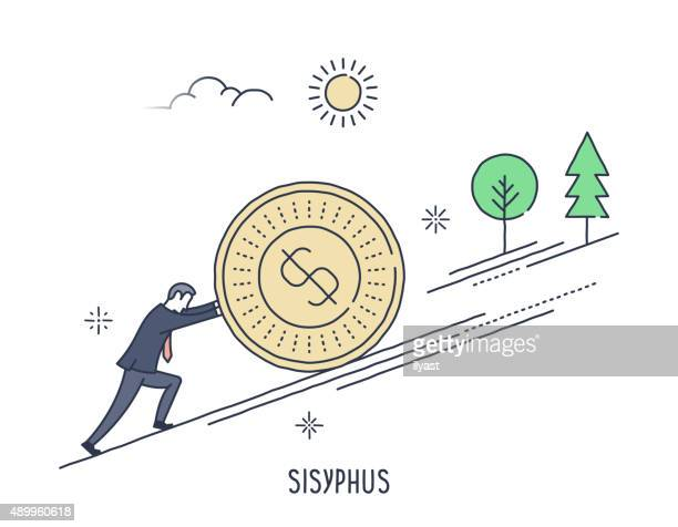 businessman rolling coin up hill - slow stock illustrations, clip art, cartoons, & icons