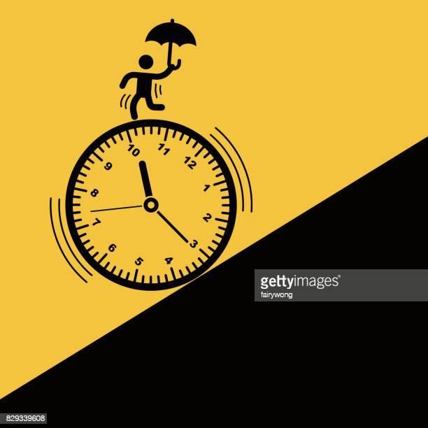 illustrations, cliparts, dessins animés et icônes de homme d'affaires courir contre le temps - temps limité